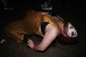 Drag Queen Ebony Would bends over backwards while entertaining patrons at PT's 1109.