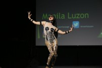 RuPaul's drag race contestant Manila Luzon lip syncs a futuristic song while strutting a robotic outfit.