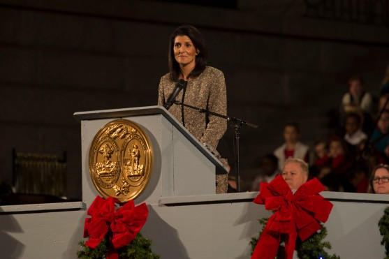 Former South Carolina Governor Nicki Haley admires the crowd during the 50th annual Carolighting.