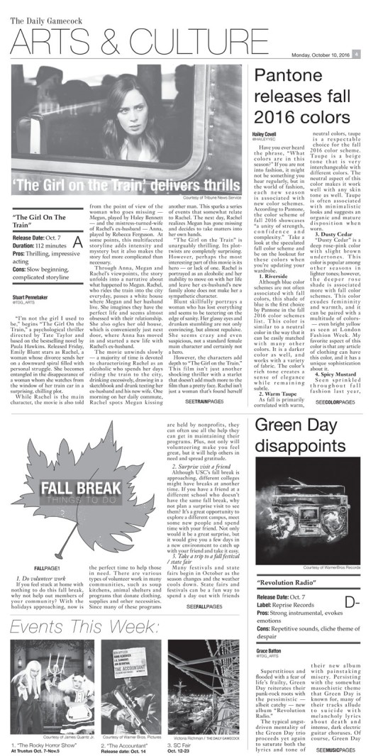 October 10th, 2016 The Daily Gamecock Arts & Culture Page