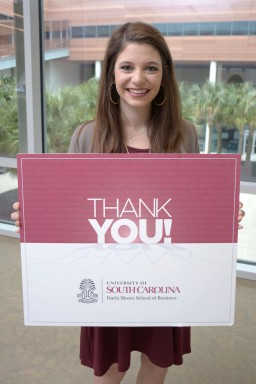 Sasha Einziger thanks Darla Moore School of Business donors for their generosity.